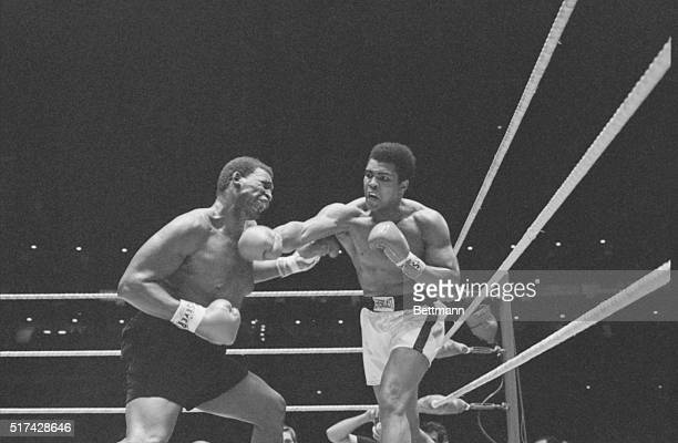 Muhammad Ali lands a right to the head of Buster Mathis in fourth round of heavyweight bout in Astrodome 11/17. Ali took a 12-round decision.