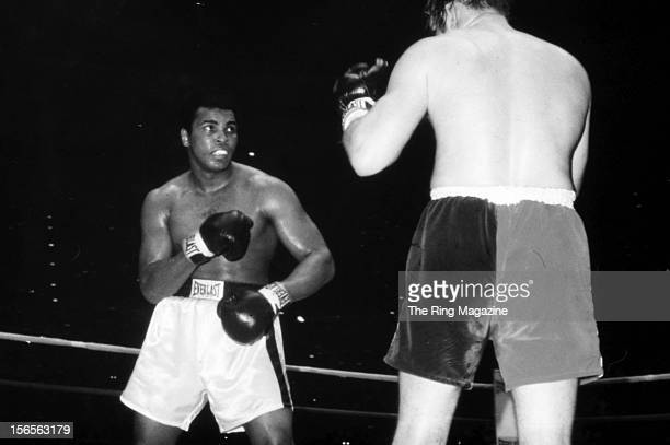 Muhammad Ali looks to land a punch against Chuck Wepner during a fight at Richfield Coliseum on March 24, 1975 in Richfield, Ohio. Muhammad Ali won...
