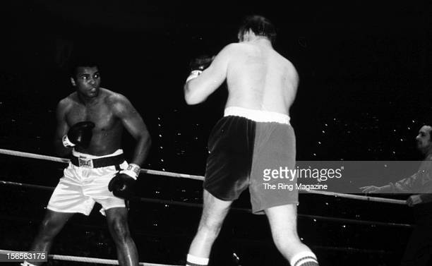 Muhammad Ali looks to land a punch to Chuck Wepner during the fight at Richfield Coliseum on March 24, 1975 in Richfield, Ohio. Muhammad Ali won both...