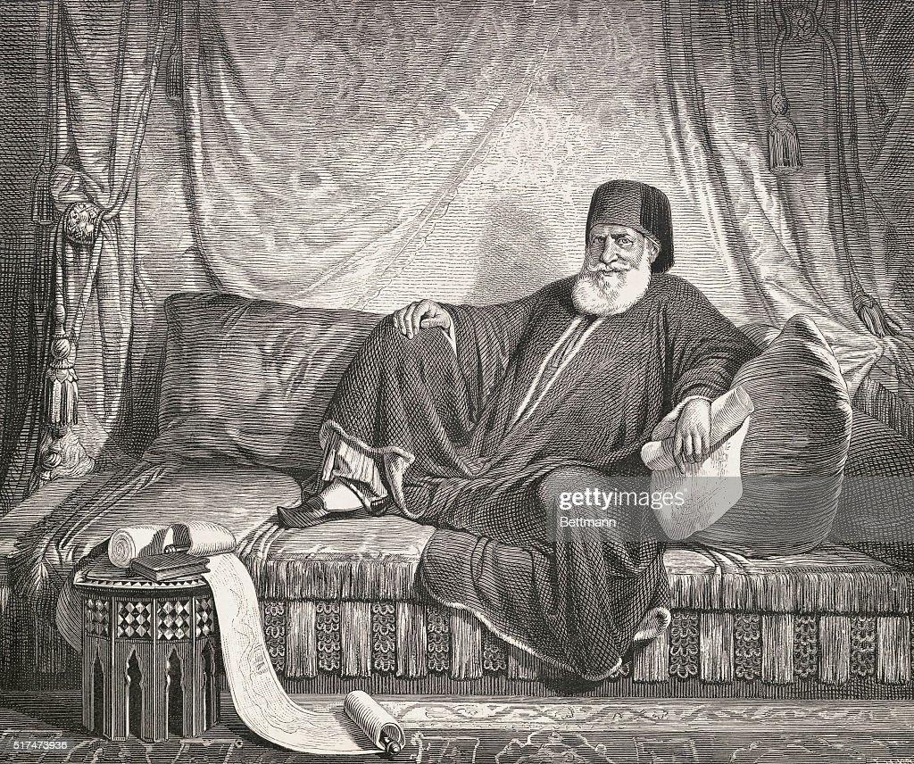 Drawing Depicting Muhammad Ali Lounging at His Royal Abode : News Photo