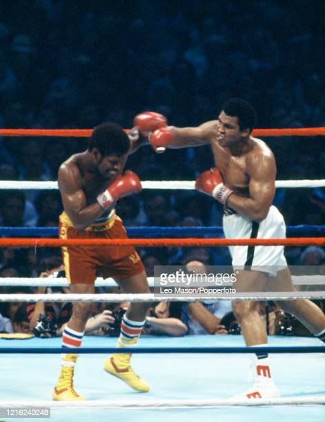 Muhammad Ali of the United States and Leon Spinks of the United States exchange blows during the WBA/The Ring and Lineal World Heavyweight Title...