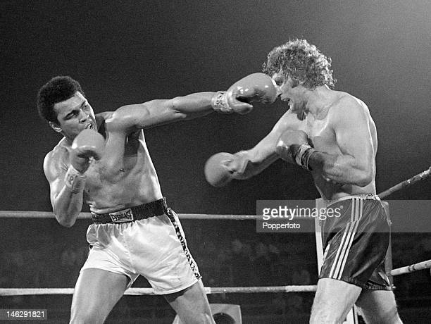 Muhammad Ali of the United States in action during his heavyweight title fight against Joe Bugner of Great Britain at the Las Vegas Convention Center...