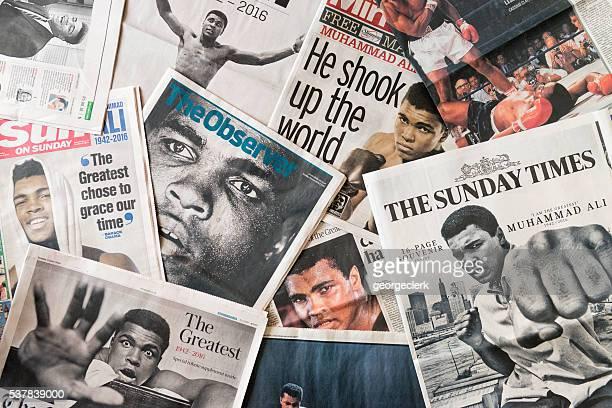 Muhammad Ali sur la page tributes journal devant