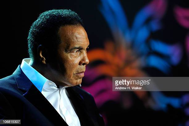 "Muhammad Ali onstage during the Michael J. Fox Foundation's 2010 Benefit ""A Funny Thing Happened on the Way to Cure Parkinson's"" at The..."