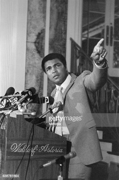 Muhammad Ali speaking at a press conference ahead of his upcoming fight against World heavyweight champion Trevor Berbeck 3rd September 1981