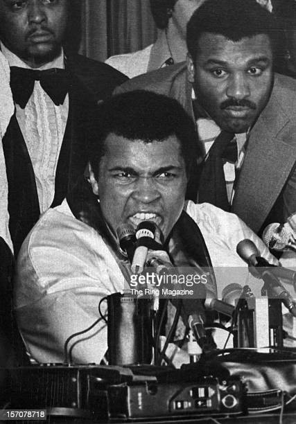 Muhammad Ali speaks during a press conference after winning the fight against Chuck Wepner at the Richfield Coliseum on March 24,1975 in Cleveland,...