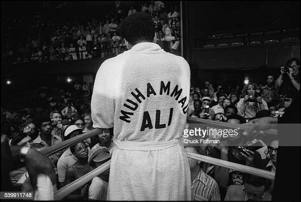 Muhammad Ali speaks to fans and the press from a boxing ring before his championship fight against Leon Spinks at the New Orleans Superdome which Ali...