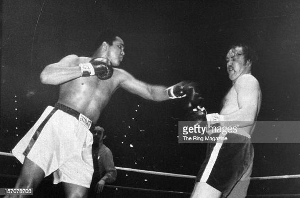 Muhammad Ali throws a left hook against Chuck Wepner during the fight at Richfield Coliseum on March 24,1975 in Cleveland,Ohio. Muhammad Ali won the...
