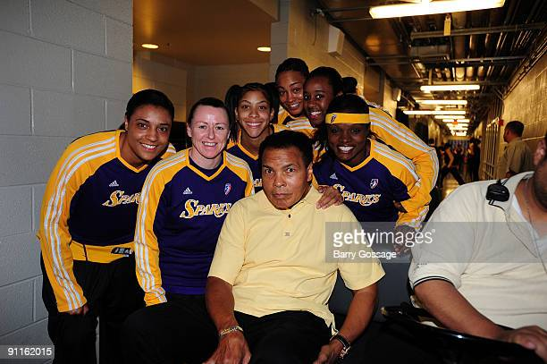 Muhammad Ali visits the Los Angeles Sparks prior to the game against the Phoenix Mercury in Game Two of the WNBA Western Conference Finals played on...