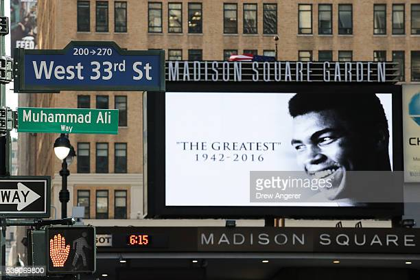 Muhammad Ali Way,' a temporary street sign in honor of the late boxer, is displayed on the corner of West 33rd Street and Seventh Avenue near Madison...