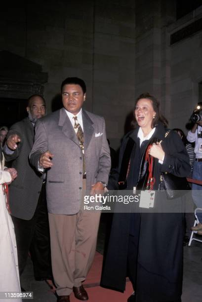Muhammad Ali & wife during Grand Opening of Michael Jordan's Steak House at Grand Central Station in New York City, NY, United States.