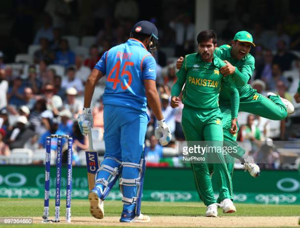 Muhammad Amir of Pakistan gets LBW on Rohit Shama of India during the ICC Champions Trophy Final match between India and Pakistan at The Oval in...