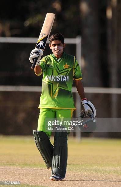 Muhammad babar Azam of Pakistan celebrates scoring a century during the ICC U19 Cricket World Cup 2012 match between Pakistan and Scotland at Kev...