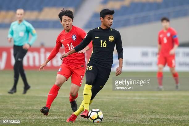 Muhammad Danial Amier Bin Norhisham of Malaysia controls the ball during AFC U23 Championship Quarterfinal between South Korea and Malaysia at...