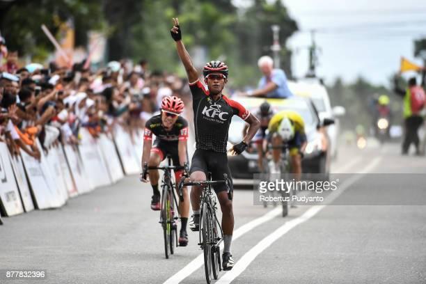 Muhammad Imam Arifin of Indonesia and KFC Cycling Team celebrates victory after winning stage 6 of the Tour de Singkarak 2017 Pariaman CityPasaman...
