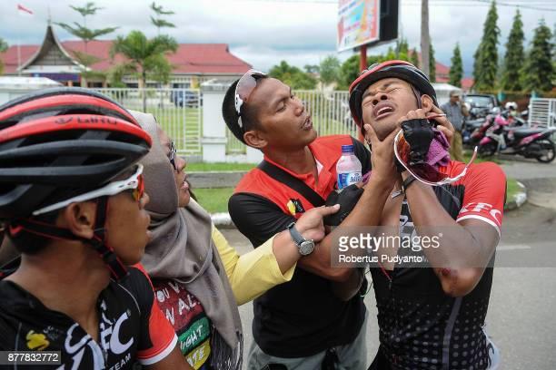 Muhammad Imam Arifin of Indonesia and KFC Cycling Team in pain after winning stage 6 of the Tour de Singkarak 2017 Pariaman CityPasaman Barat 1457 km...