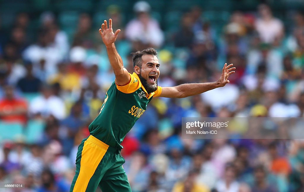 Muhammad Imran Tahir of South Africa celebrates his third wicket during the 2015 ICC Cricket World Cup match between South Africa and Sri Lanka at Sydney Cricket Ground on March 18, 2015 in Sydney, Australia.