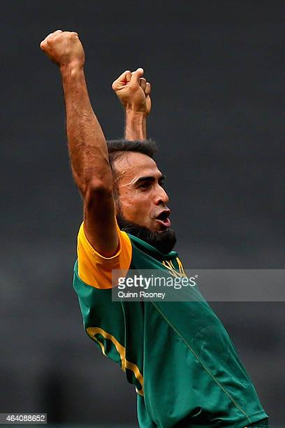 Muhammad Imran Tahir of South Africa celebrates taking the wicket of Virat Kohli of India during the 2015 ICC Cricket World Cup match between South...