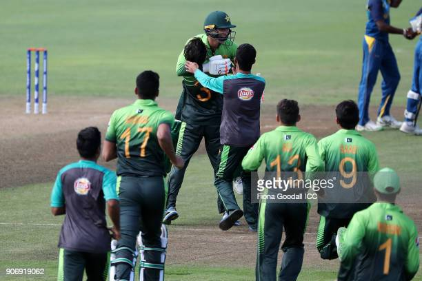 Muhammad Musa hits the winning runs to win the match for Pakistan during the ICC U19 Cricket World Cup match between Sri Lanka and Pakistan at Cobham...