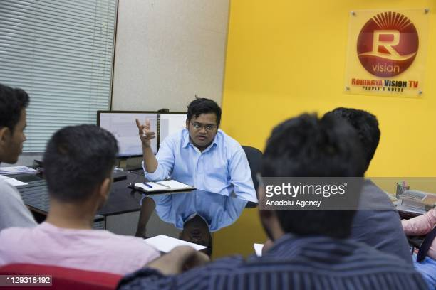 Muhammad Noor the cofounder of Rohingya Vision TV have a discussion with staffs during their meeting at the office in Kuala Lumpur Malaysia on March...