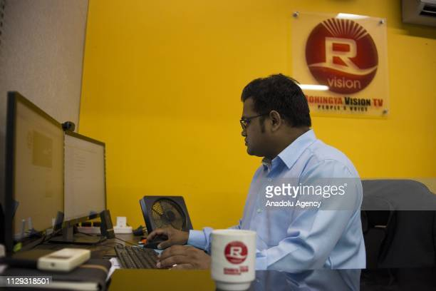 Muhammad Noor the cofounder of Rohingya Vision TV works at the office in Kuala Lumpur Malaysia on March 07 2019 Established on April 21 2012 Rohingya...