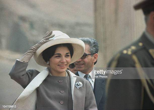 Muhammad Reza Shah Pahlavi of Iran and his wife Empress Farah Pahlavi on a visit to the ancient ruins at Persepolis in March 1961