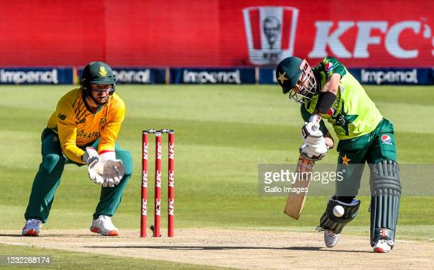 Muhammad Rizwan of Pakistan takes the first and only strike that got him caught out by Aiden Markram of South Africa during the 2nd KFC T20...