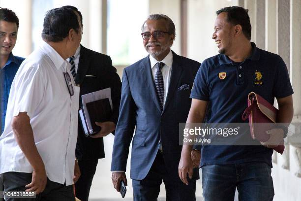 Muhammad Shafee lawyer of Malaysia's former Prime Minister Najip Razak departs the Kuala Lumpur High Court on October 4 2018 in Kuala Lumpur Malaysia...