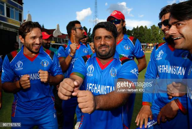 Muhammad Shahzad of the victorious Afghanistan team after winning The ICC Cricket World Cup Qualifier Final between The West Indies and Afghanistan...
