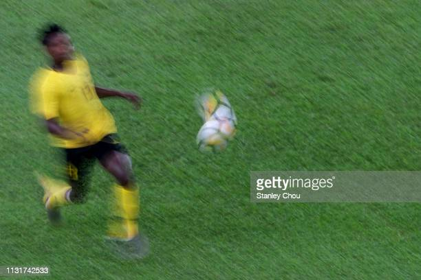 Muhammad Sumareh of Malaysia runs for the ball during the Airmarine Cup match between Malaysia and Singapore at Bukit Jalil National Stadium on March...