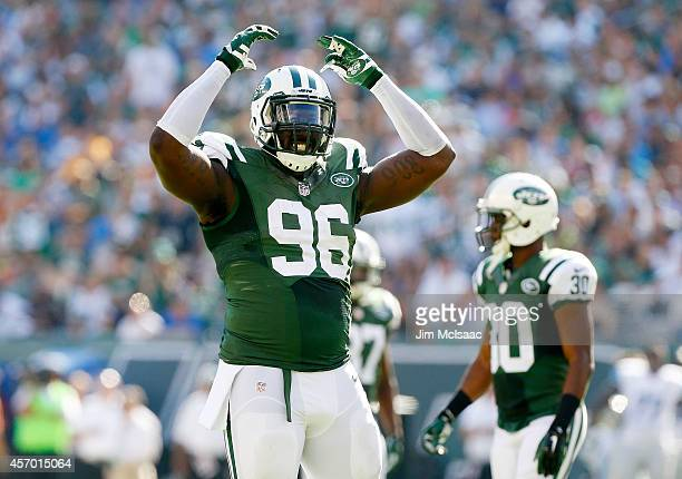 Muhammad Wilkerson of the New York Jets in action against the Detroit Lions on September 28 2014 at MetLife Stadium in East Rutherford New Jersey The...
