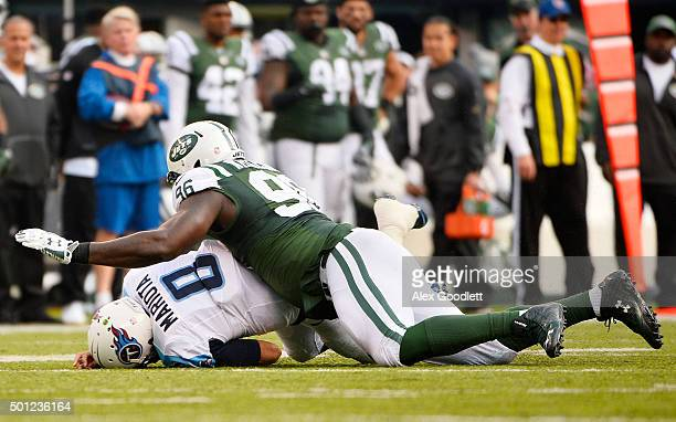 Muhammad Wilkerson of the New York Jets sacks Marcus Mariota of the Tennessee Titans in the second quarter during their game at MetLife Stadium on...
