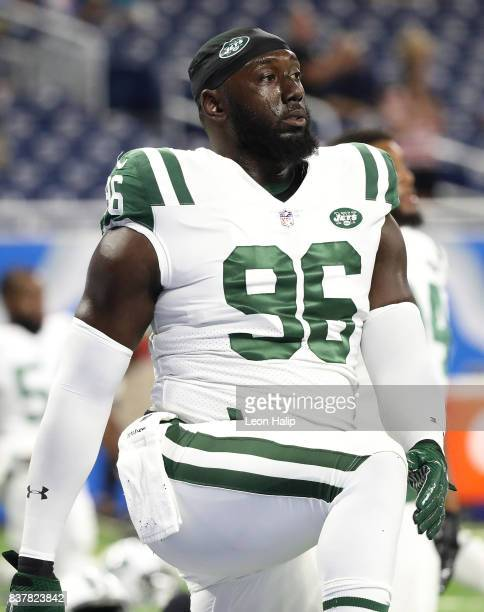 Muhammad Wilkerson of the New York Jets warms up prior to the start of the preseason game against the Detroit Lions on August 19 2017 at Ford Field...