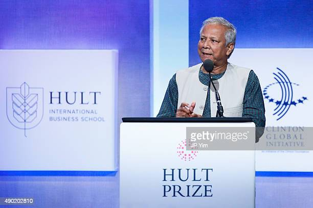 Muhammad Yunus 2006 Nobel Peace Prize Winner attends the Hult Prize Dinner during the first day of the 2015 Clinton Global Initiative's Annual...