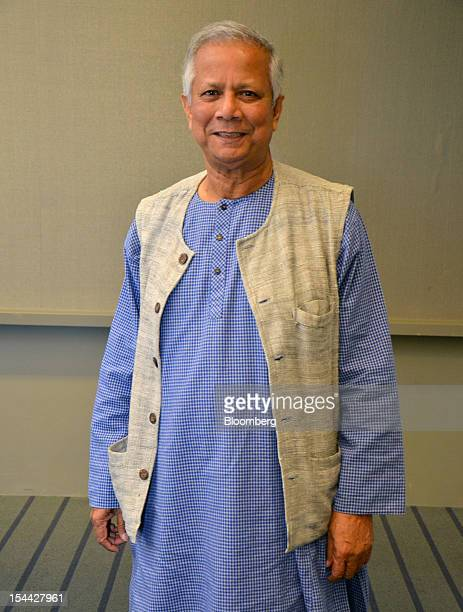 Muhammad Yunus chairman of Grameen Solutions and Nobel Prize Laureate stands for a photograph at the One Young World Summit in Pittsburgh...