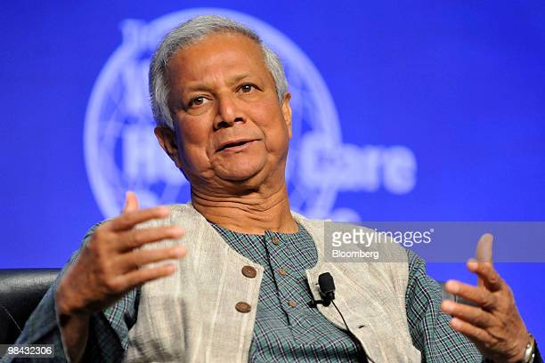 Muhammad Yunus who won the Nobel Peace Prize in 2006 for his role in founding Bangladesh's Grameen Bank speaks at the World Health Care Congress in...