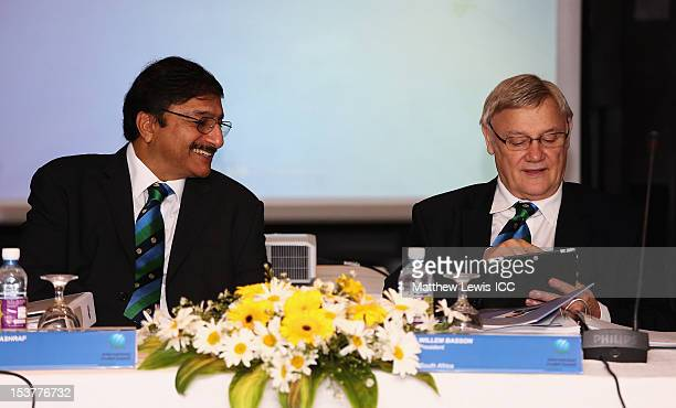 Muhammad Zaka Ashraf Chairman of the Pakistan Cricket Board talks to Willem Basson President of the South Africa cricket board during the ICC Board...