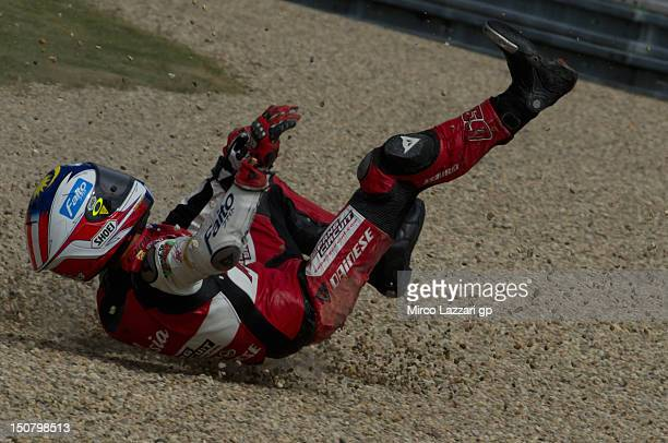 Muhammad Zulfahmi Khairuddin of Malaysia and Air AsiaSICAjo crashed out during the Moto3 race of the MotoGp of Czech Republic at Brno Circuit on...