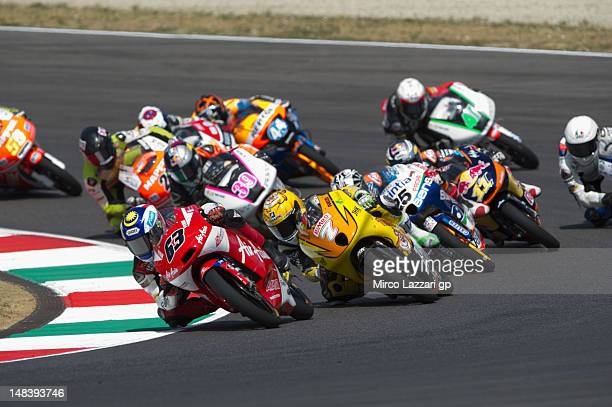 Muhammad Zulfahmi Khairuddin of Malaysia and Air AsiaSICAjo leads the field during the Moto3 race of the MotoGP of Italy at Mugello Circuit on July...