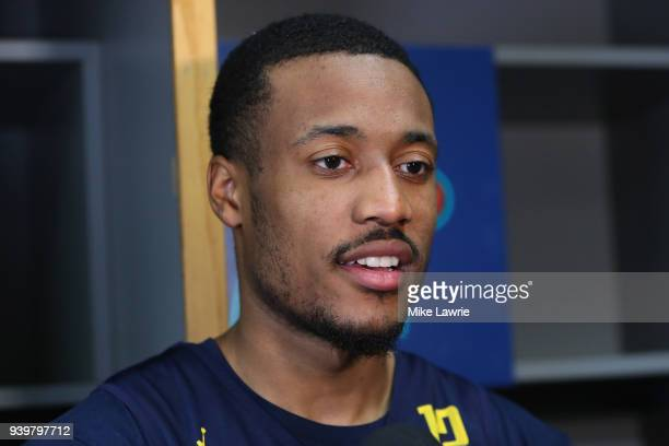 MuhammadAli AbdurRahkman of the Michigan Wolverines is interviewed during media day for the 2018 Men's NCAA Final Four at the Alamodome on March 29...