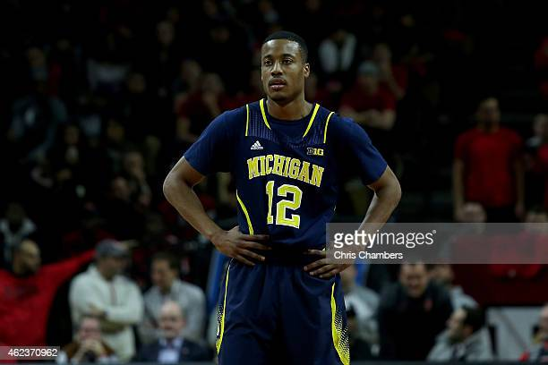 MuhammadAli AbdurRahkman of the Michigan Wolverines looks on against the Rutgers Scarlet Knights during their Big Ten conference regular season game...