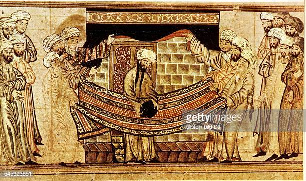 Muhammad*around 5700806632Prophet founder of Islamthe Prophet Muhammad sanctifies the 'Black Stone' central Asian painting 14 c