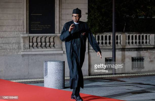 Muhammadu Buhari Nigeria's president arrives at the Musee d'Orsay for a dinner during World War I commemoration ceremonies in Paris France on...