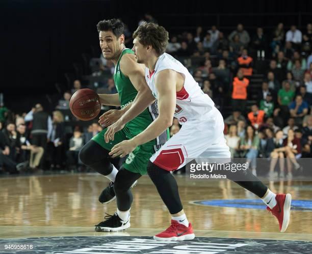 Muhammed Baygul #5 of Darussafaka Istanbul in action during the 7DAYS EuroCup Basketball Finals game two between Darussafaka Istanbul v Lokomotiv...
