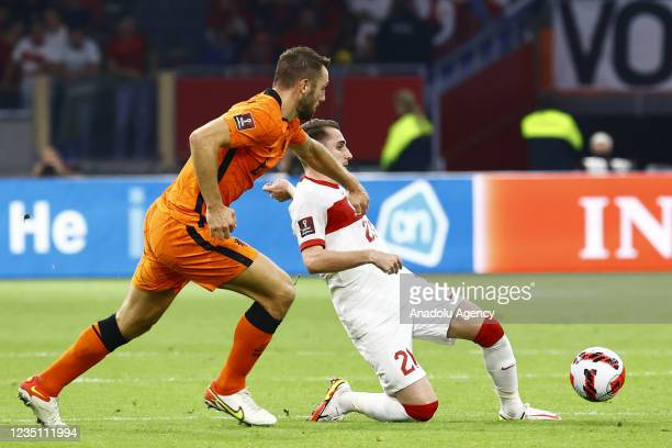 Muhammed Kerem Akturkoglu of Turkey in action during the 2022 FIFA World Cup Qualifiers Group G soccer match between Netherlands and Turkey at the...