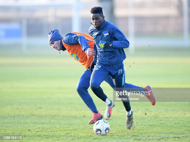 Muhammed Kiprit and Jordan Torunarigha of Hertha BSC during the training on January 22 2019 in Berlin Germany