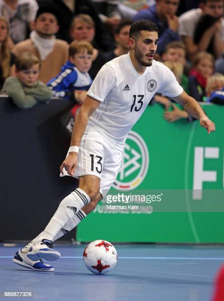 Muhammet Soezer of Germany runs with the ball during the Futsal international friendly match between Germany and Czech Republic at Ballsport Arena on...