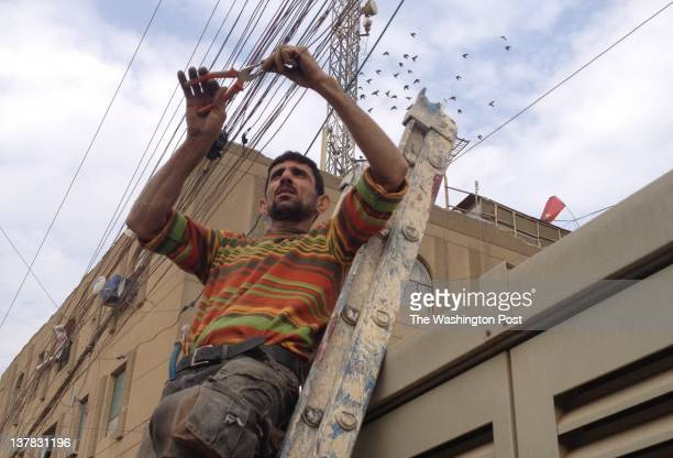 Muhannad Mundher Mahmoud who was paid by American Forces to kill terrorists linked to alQaeda now services electrical lines for a generator operator...