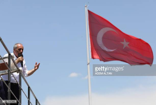 Muharrem Ince presidential candidate of the main opposition Republican People's Party speaks during a rally in Ankara on June 5 2018 The candidate of...