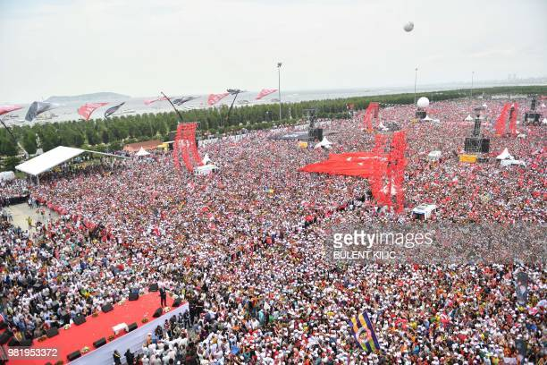 Muharrem Ince presidential candidate of Turkey's main opposition Republican People's Party delivers a speech during his election rally in Istanbul on...